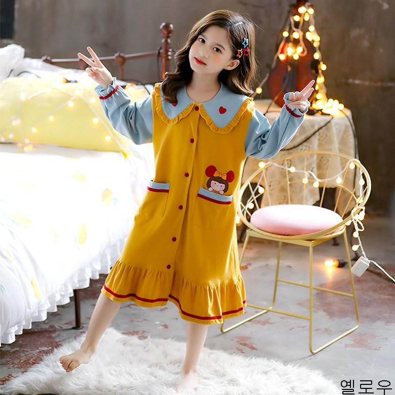 굿데이 컴퍼니 초등학생 중학생 봄 패밀리 룩 모녀복 여름 긴발 잠옷 편하다 어린이 홈웨어 귀엽원 공주잠옷 원피스 sSQ18