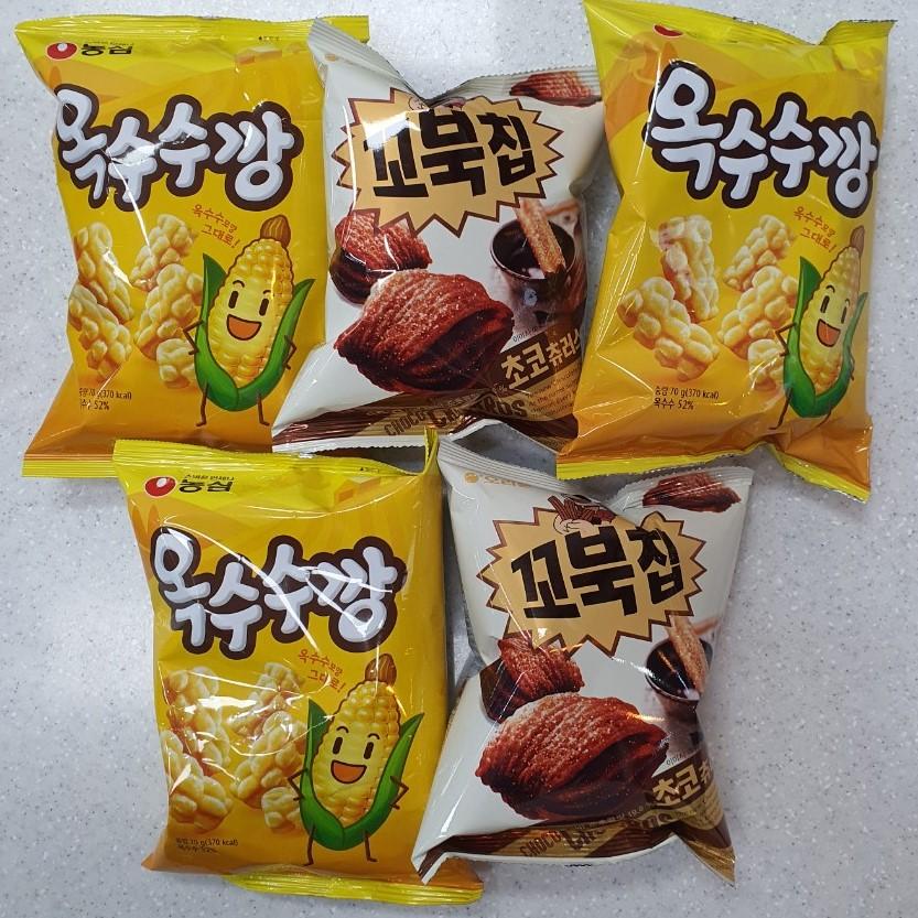 담팔담사 농심옥수수깡 70g 3봉 + 오리온꼬북칩초코츄러스맛 65g 2봉 (총5개)