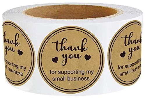 [해외직구]Wootile 1.5 Round Kraft Thank You for Supporting My Small Business - 500 Classy Retro Bus, Kraft_One Size, 1개