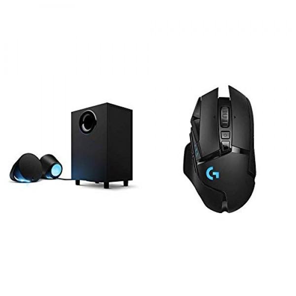 로지텍 G560 LIGHTSYNC PC 게임용 스피커 게임 기반 RGB 조명 및 G502 Lightspeed 무선 게임용 마우스 Hero 1