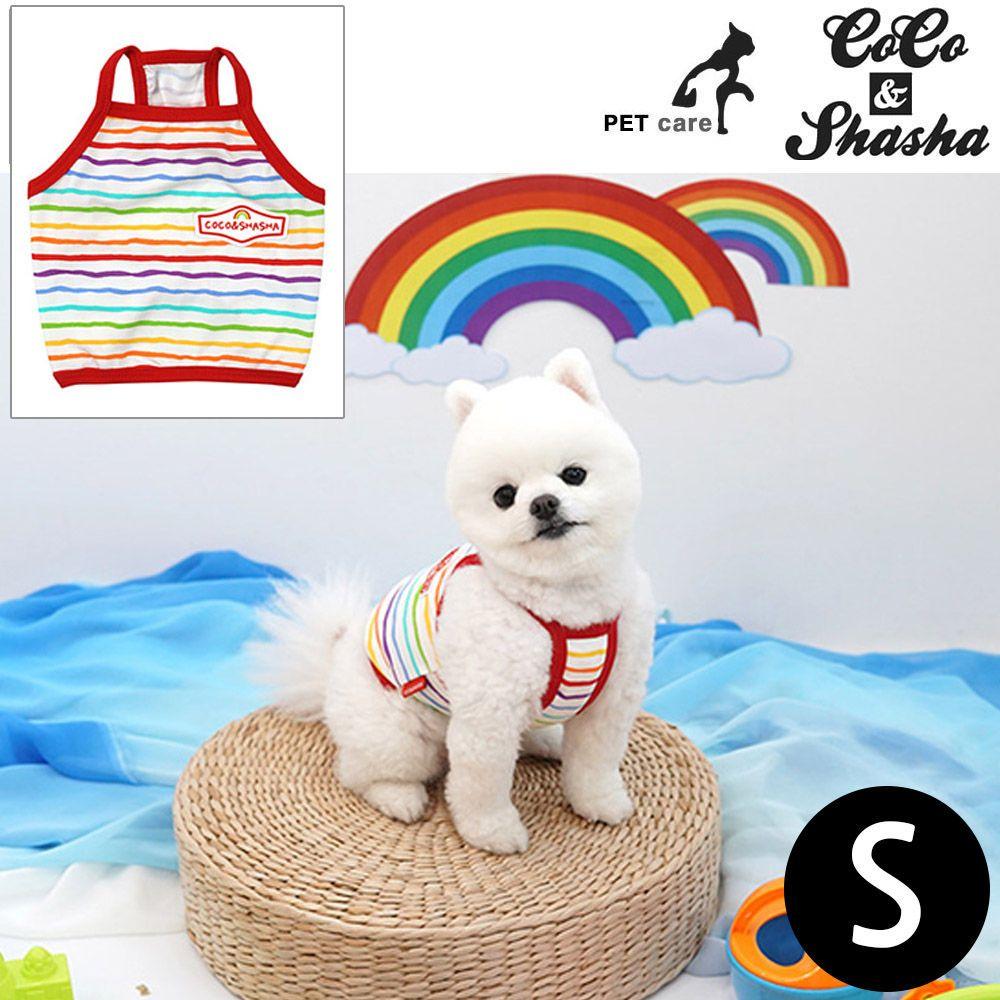 YJ_14240 + 강아지 티셔츠 +TWON#+ 레인보우 크롭 티셔츠 (레드) (S)