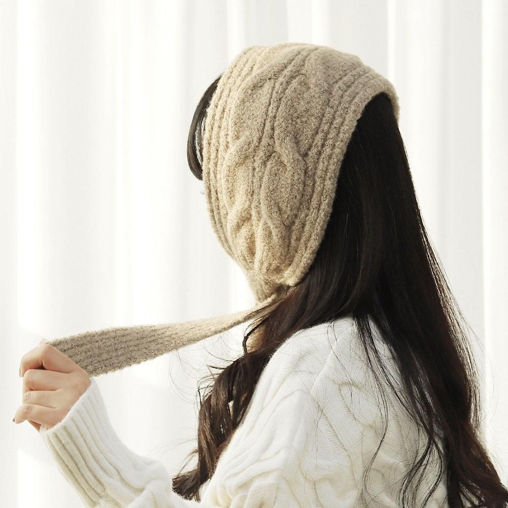 울 꽈배기 귀도리 겨울 여성 방한 뜨게 니트 귀마개