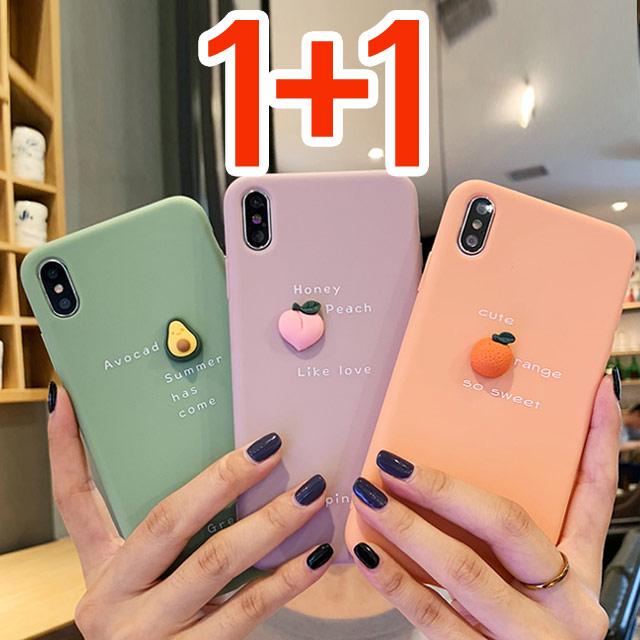 스톤스틸 (1+1) 과일 파스텔 실리콘 슬림 케이스 아이폰8 x xr 맥스 아이폰11 SE2 휴대폰