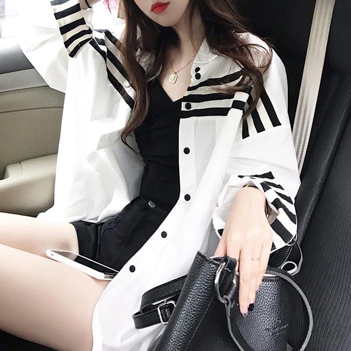 대박난박양 여성용 배색 라인 스트라이프 셔츠