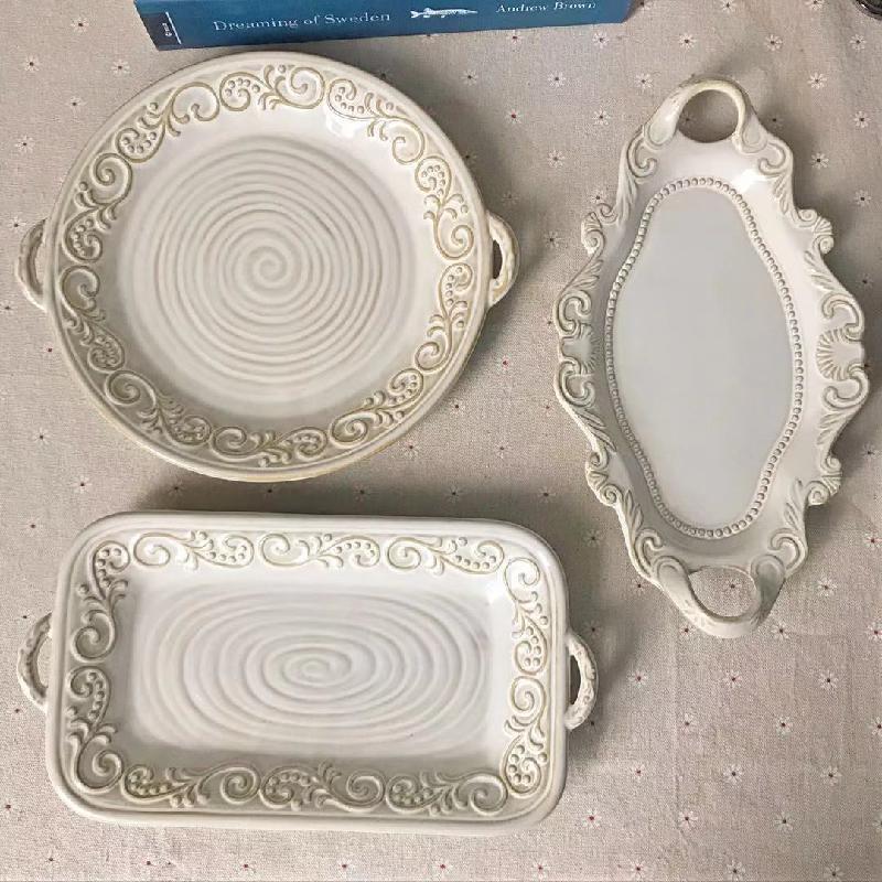 other 북유럽 레트로 인스타 접시 그릇 빈티지 무늬 세라믹, 블랙 롱 플레이트