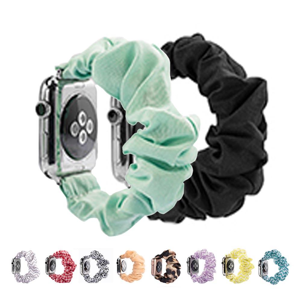 애플워치 38 40 42 44mm 예쁜 패션 쫀쫀 패브릭 헤어 곱창 밴드 스크런치 스트랩 시계줄 1 2 3 4 5세대, 1개, 44mm 퍼플지그 WAW1051