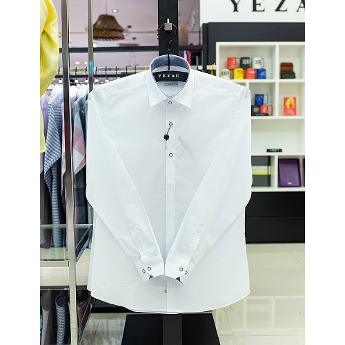 [예작셔츠]남성 남성 스트래치 솔리드 슬림핏 긴소매셔츠(YJ0FBS913-WH)