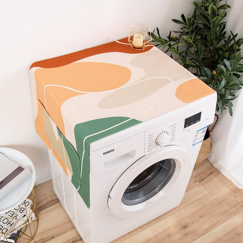 리키스컴퍼니 듀얼쿨링(쿨링선반+냉기에어커튼) 세탁기 방수 커버 욕실 전용이다 냉장고 가리개 냉동고 덥는천 먼지 방지 레쉬, 융합함 -라인오렌지 65X180CM (방수 기름방지 )