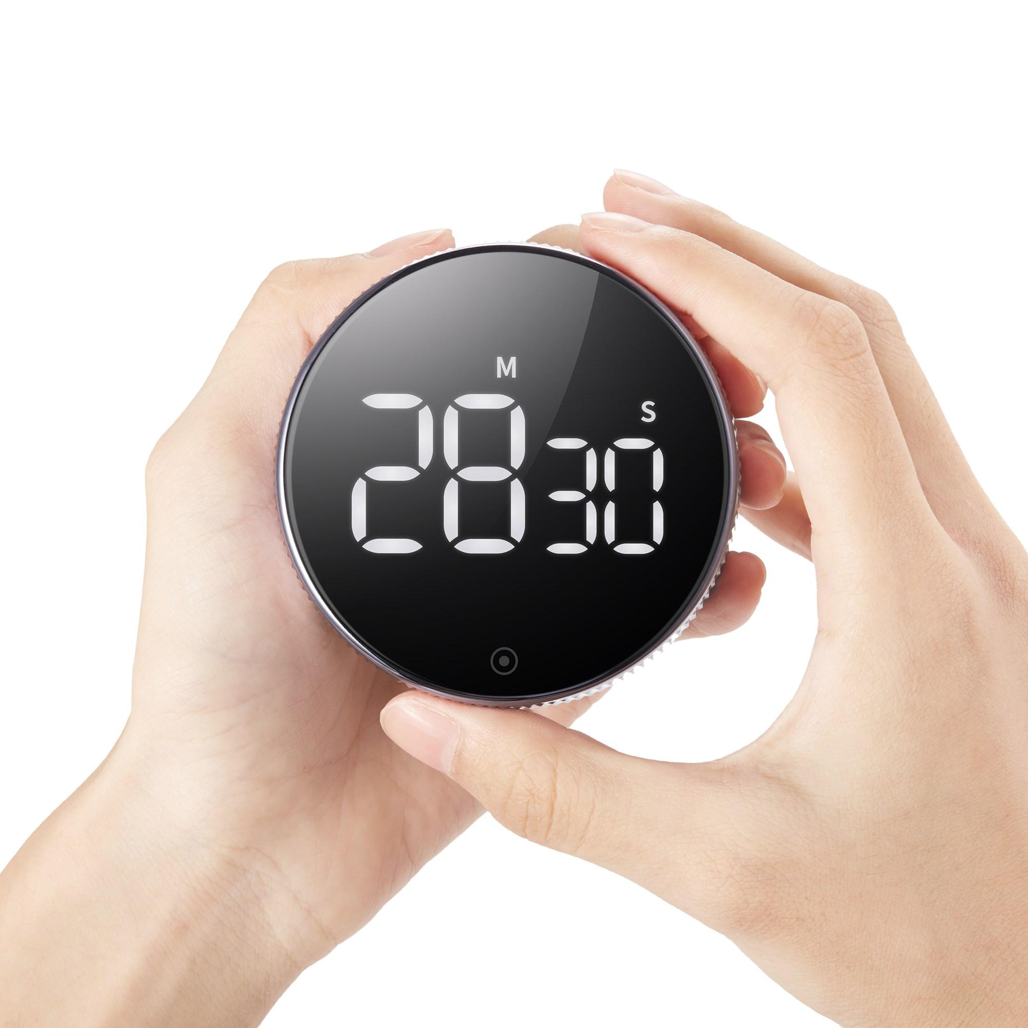 무소음 조절 다이얼 타이머 쿠킹 캠핑 라면 주방 요가 요리 디지털 자석 냉장고 타이머, 본체(T1 스마트 타이머)