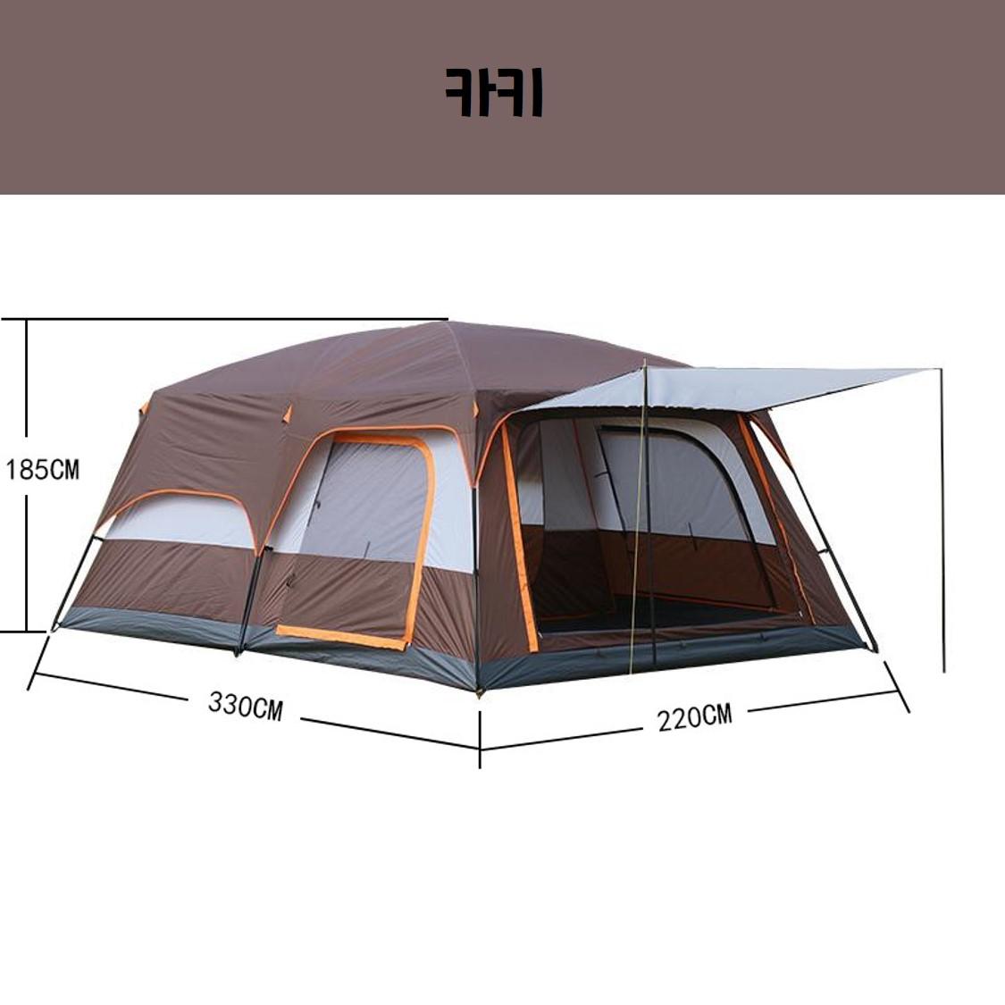 투룸 텐트 돔 겨울 쉘터 거실형 텐트, 카키