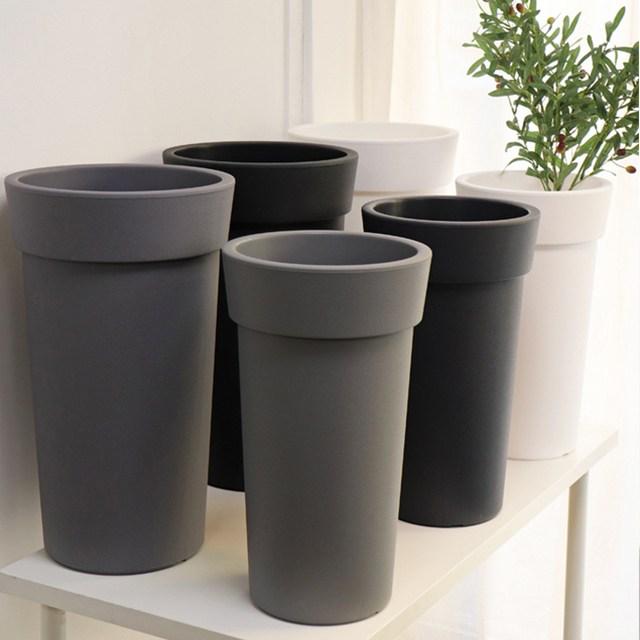 봉주르소소 원형 심플 플라스틱 인테리어 화분 3color 2size, 블랙/특대형