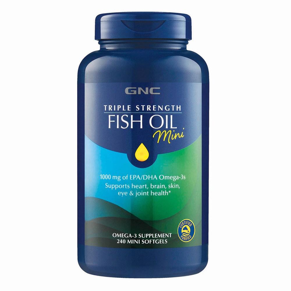 GNC Triple Strength Fish Oil Mini 240 Softgels 피쉬오일 미니 240정, 1병
