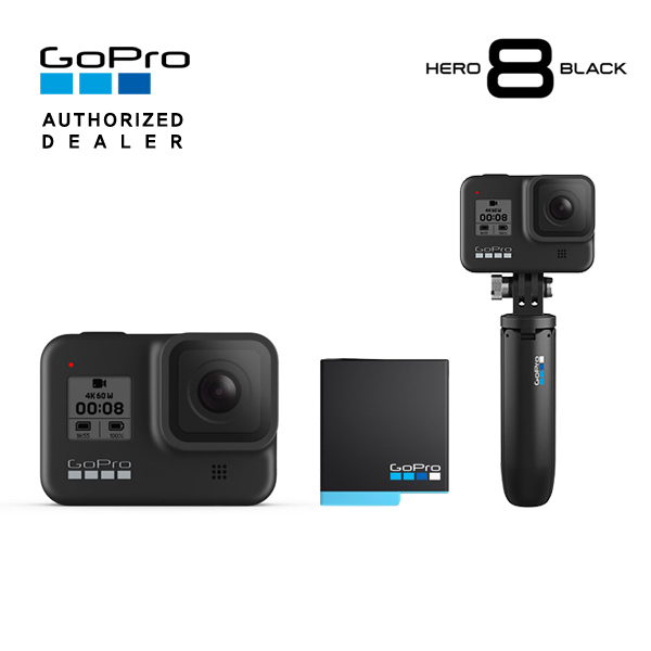 [GoPro] 고프로 HERO 8 Black 히어로 8 블랙 액션캠+추가 정품배터리+쇼티(미니 익스텐션 폴+삼각대), 단품