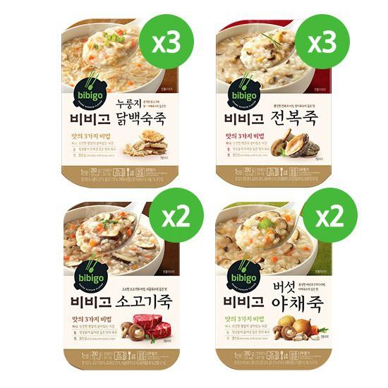[총 10개입/280g] 비비고 닭백숙3+전복3+버섯야채2+소고기죽2, 상세설명 참조, 없음