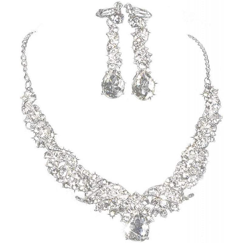 라인 스톤 진주 목걸이 귀걸이 2 종 세트 여성 결혼식이나 파티에 사용 웨딩 쥬얼리 조치 신부 보석 (실
