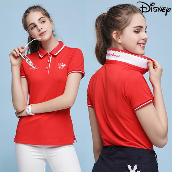 디즈니 [디즈니] 여성 라운딩 카라 티셔츠 레드