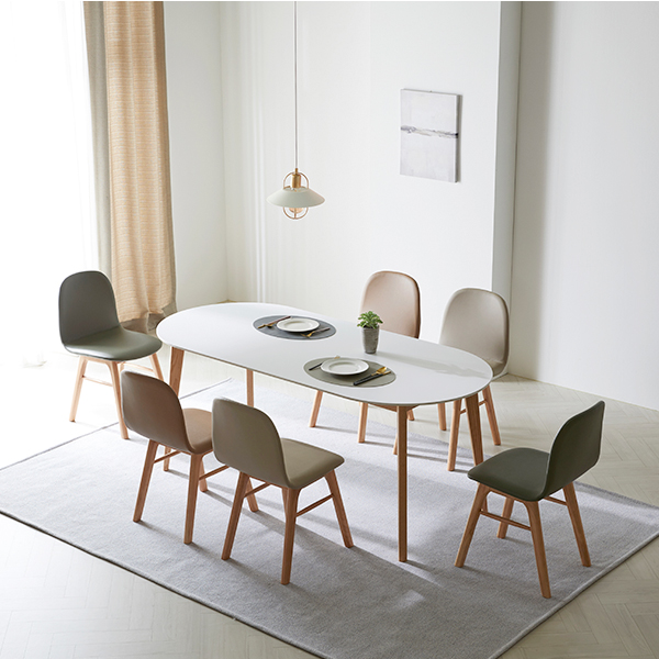 라움 퓨어 올화이트 타원형 세라믹테이블 4인 6인식탁, 엔젤체어일반(핑크)