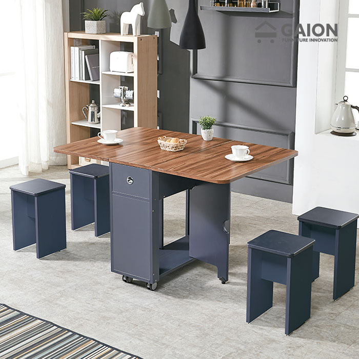 가이온 올인원 폴딩 식탁테이블+스툴 4EA, 네이비월넛