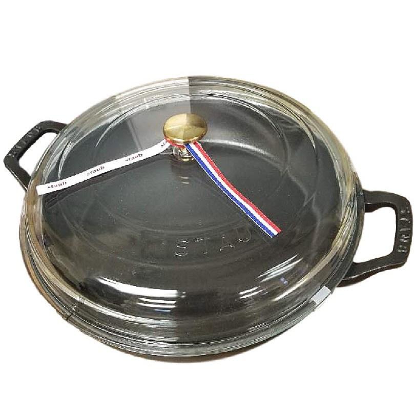 스타우브 소테 팬 유리 뚜껑 블레이져 3.5쿼터 28cm 블랙, BLACK, 지름 28cm