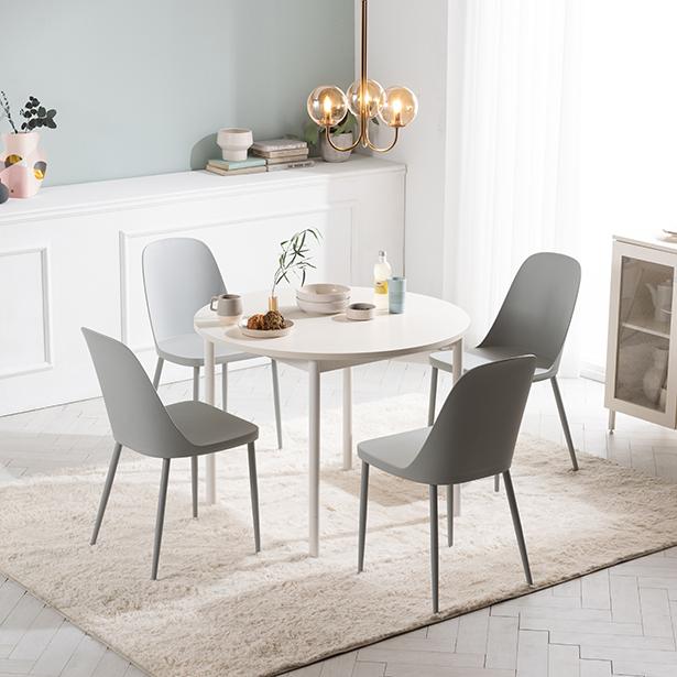 리바트온라인 로티르 4인 원형식탁SET 의자4개, 8) 화이트+메이빌체어 B형(베이지)