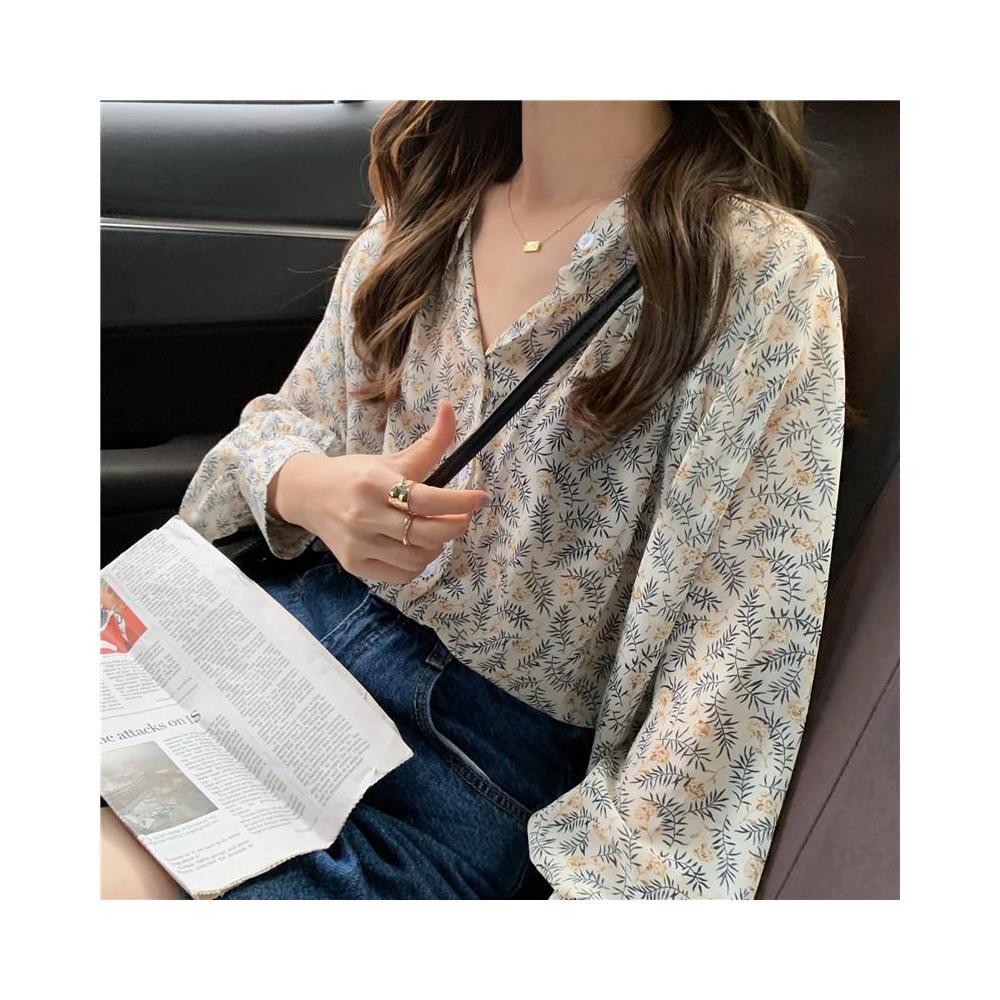 알지구 썸머 블라우스 실제 샷 가격! 가을 신작 얇은 꽃 무늬 쉬폰 긴팔 셔츠