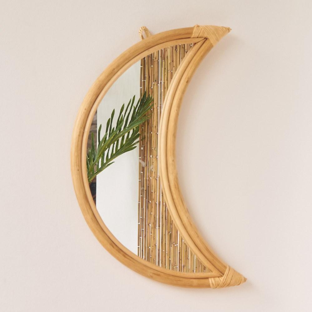 헤븐센스 핸드메이드 라탄 거울, 01.문 라탄 거울