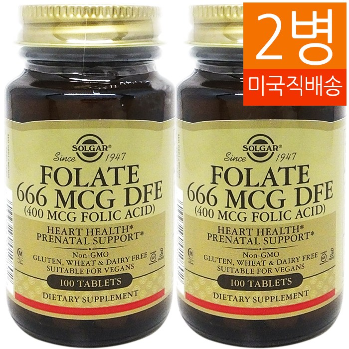SOLGAR 엽산 666MCG DFE (400 MCG Folic Acid) 100 Tablets 2병