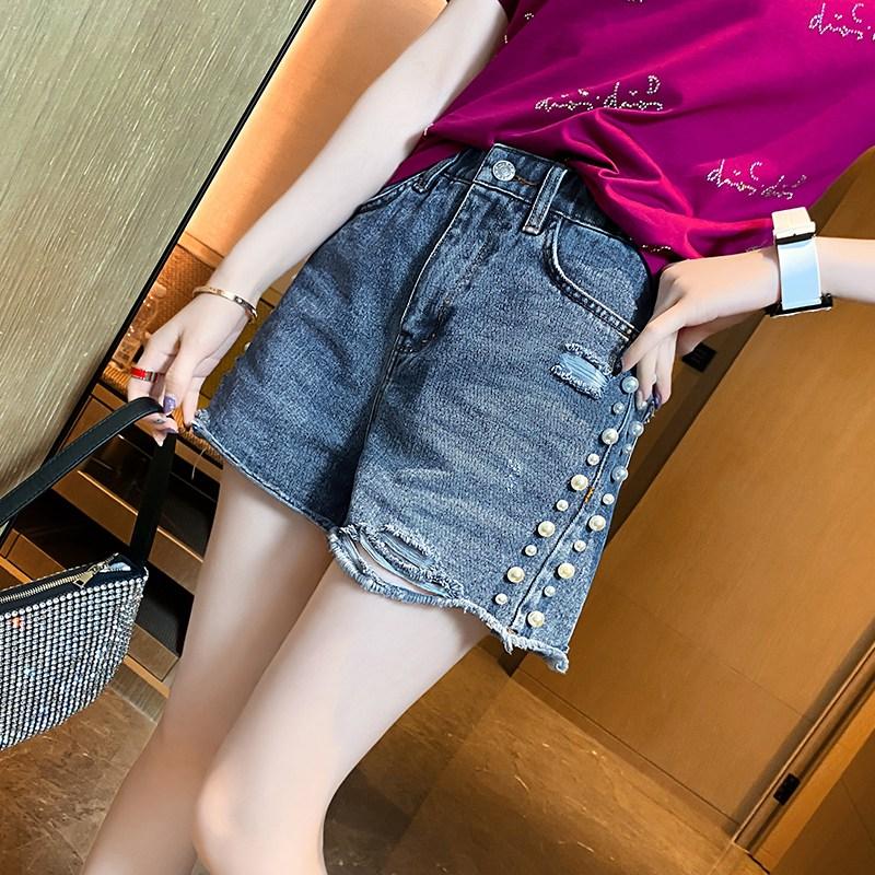 나래쇼핑몰 청바지 이름 파 봄 여름 숏 해진 여성 유럽 상품 와이드 루즈핏 구슬장식 A라인 바지