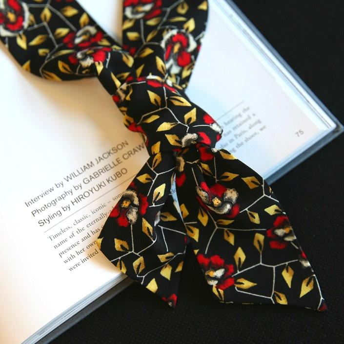 [해외]여성악세사리 66girls에게 검은 색과 흰색 빨간색 노란색 파란색 깨진 꽃 여성 스카프 스카프 넥타이 매듭을 구입 coolala 한국