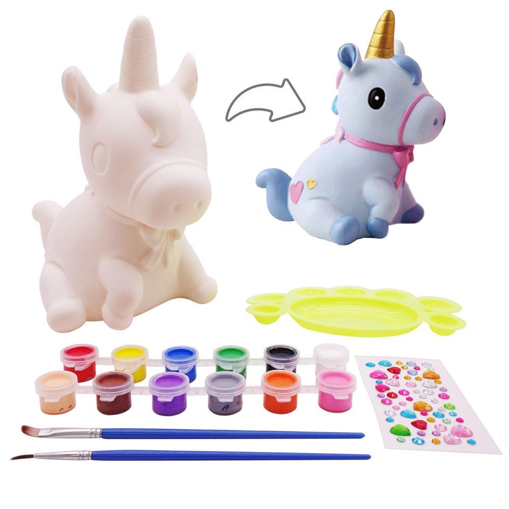 veZve 수공예 키트는 4~8살 아이들을 위한 장난감 그리기 DIY 주화은행 유니콘 캐릭터