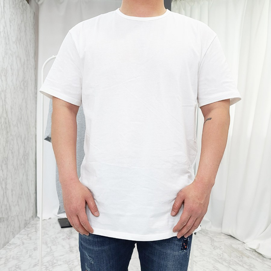 VANANA2 화이트 롱 트임 레이어드 반팔 기본 티셔츠 2개