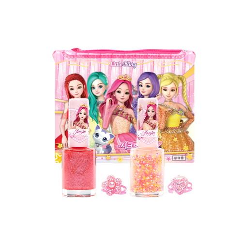 리틀블링 시크릿쥬쥬 별의여신 반지네일 2종 세트, 오로라핑크+핑크사이다