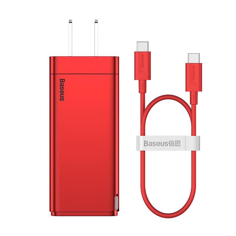Baseus NEW 65W 충전기 GaN2Pro 고속충전기 iPhone12 20WPD 노트북 초고속 충전 3포트, 65W 3포트 + 케이블 1미터 + 돼지코증정, 레드