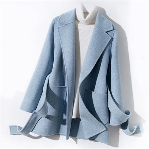 캐시미어 핸드메이드 코트 양면 여성용 짧은 하이 엔드 수제 소형 100 % 모직