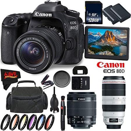Canon EOS 80D DSLR 카메라 + 18-55mm 렌즈 + Canon EF 100-400mm f 4.5-5.6L 렌즈 + 128GB 메모리 카드, 상세 설명 참조0
