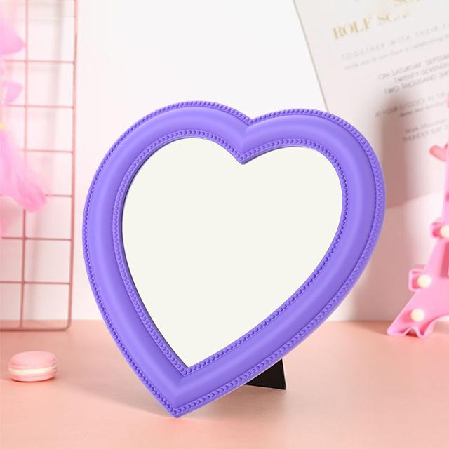 히든템 하트거울 핑크 하트 탁상 화장대 거울, 퍼플