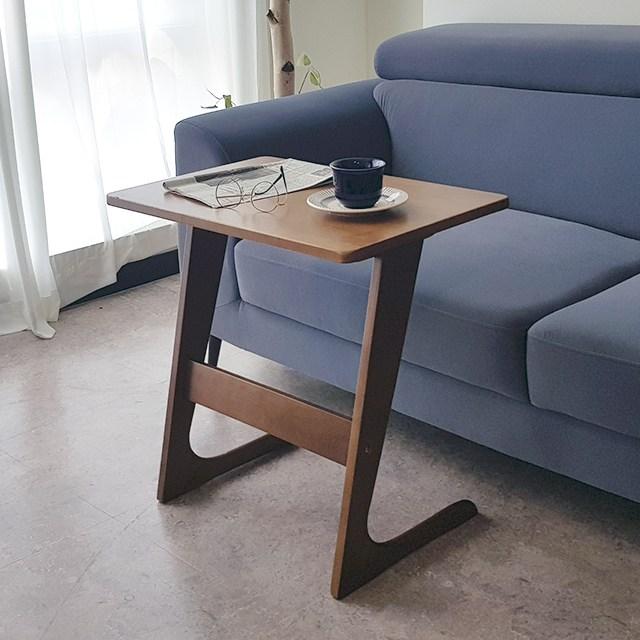 플레르가구 햄프 노트북 미니 간이 원목 소파 사이드 테이블, 월넛_M사이즈(60x40x60)
