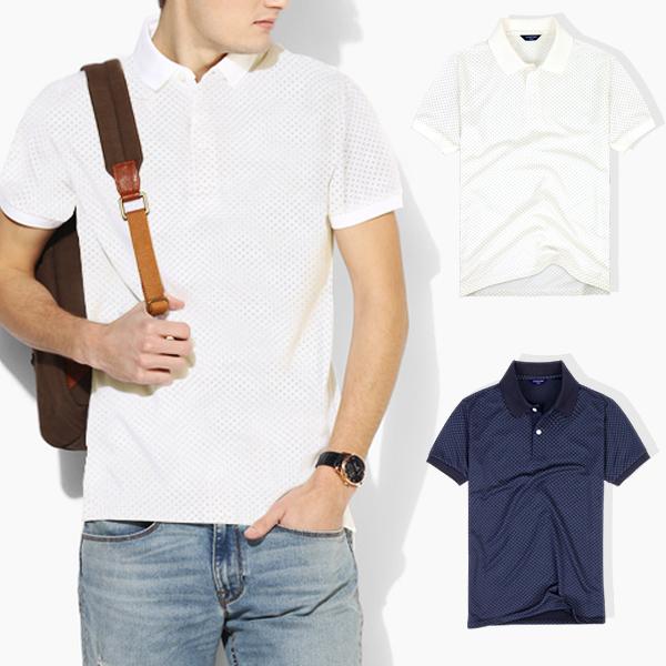 [뉴센] 클론 (도트) 남녀공용 반팔 카라티 티셔츠 반팔티