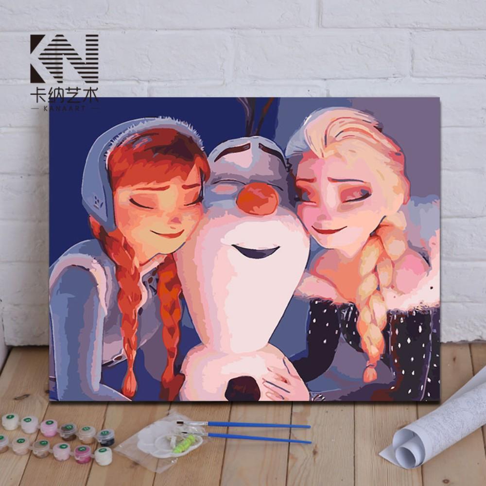 디즈니유화그리기 겨울왕국 세트 DIY명화그리기 캔버스페인팅 그림 포스터, 40x50  + A