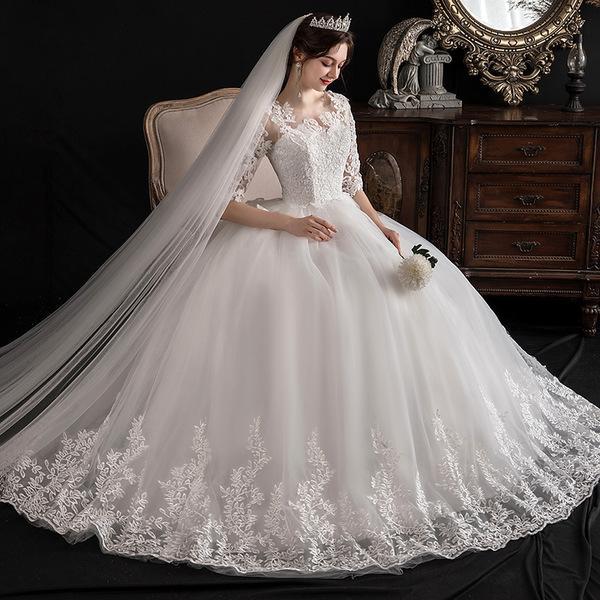 빅사이즈 레이스 웨딩촬영 A라인 신부 웨딩 드레스