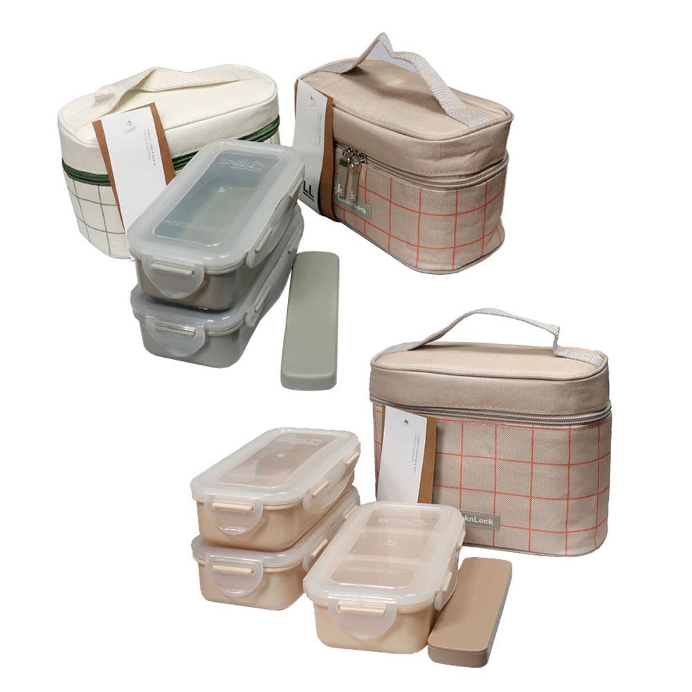 락앤락 가방 도시락 세트 2단 3단 젓가락포함 도시락통 종류선택, 1세트, 3단 그린