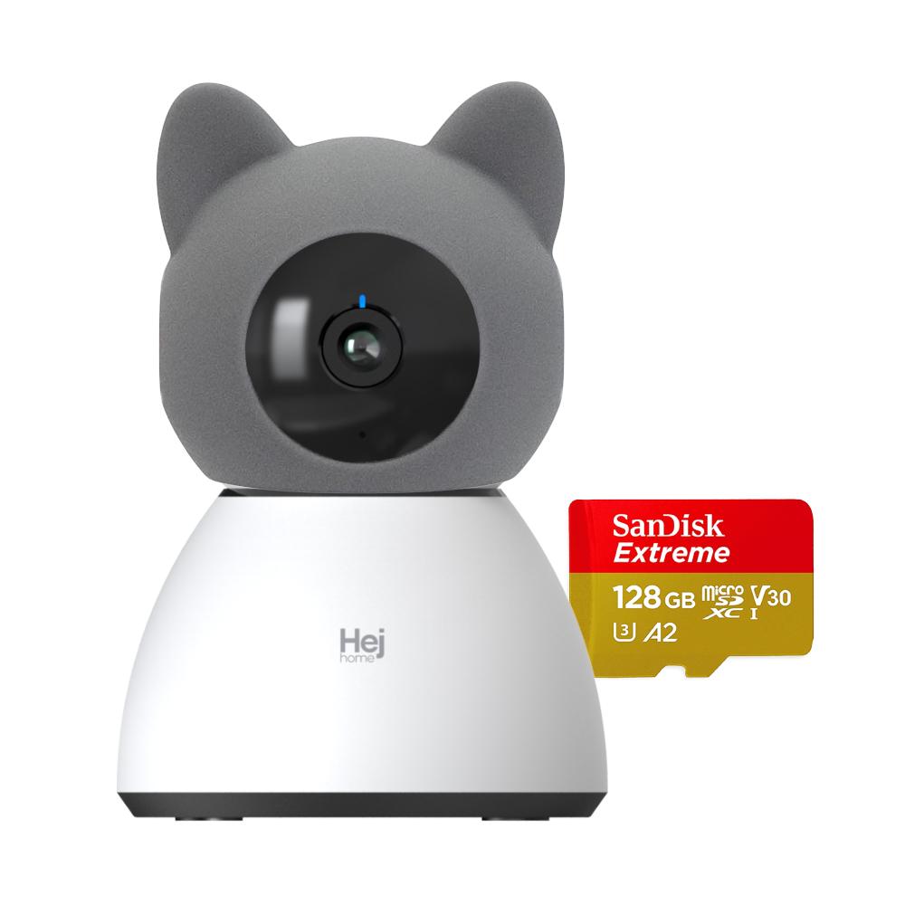 헤이홈 헤이캣 스마트 홈카메라 PRO+ 캐릭터 케이스, 헤이캣 커버 + 128GB SD카드(SanDisk익스트림) + 홈카메라PRO+