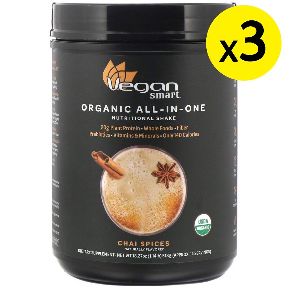 [미국직구]VeganSmart 유기농 올인원 영양 셰이크 차이 스파이스 518g(18.27oz) 3개, 선택, 상세설명참조