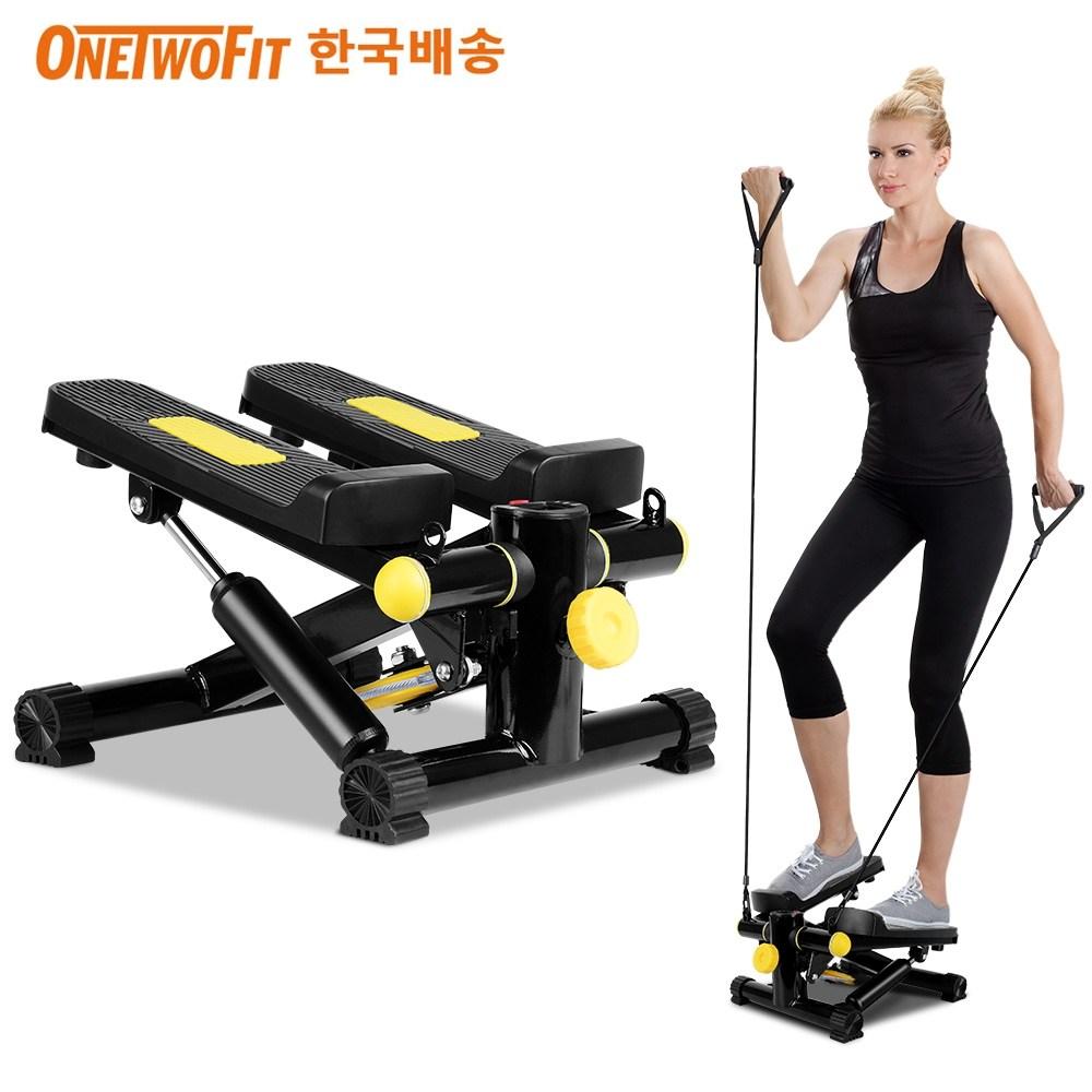 OneTwoFit 스텝퍼 + 전용매트 세트 스트레칭 보드 유산소 운동기구, 옐로우/블랙