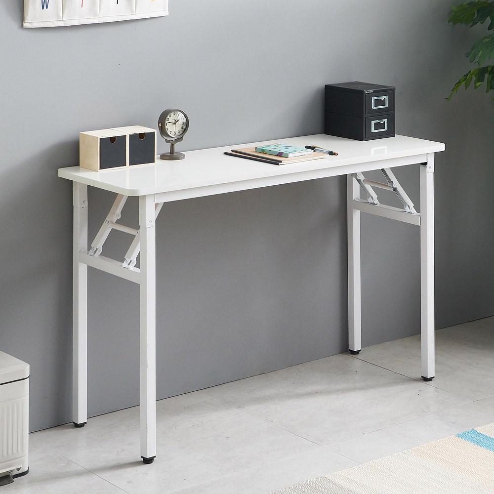 프리메이드 접이식 라운드 테이블 슬림, 화이트