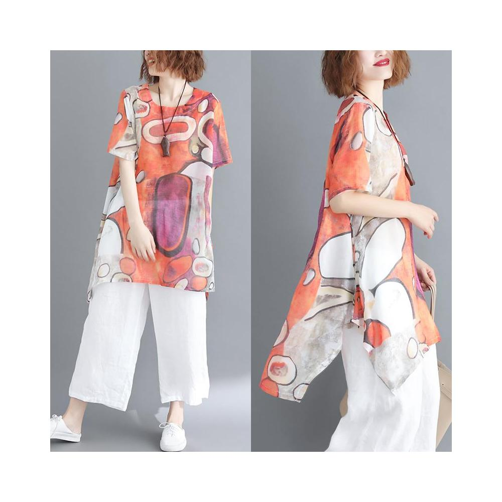 알지구 썸머 블라우스 2020 여름 새로운 지방 MM 추상 인쇄 느슨한 문학 대형 중형 및 긴 쉬폰 셔츠 여성 가격 42 증가