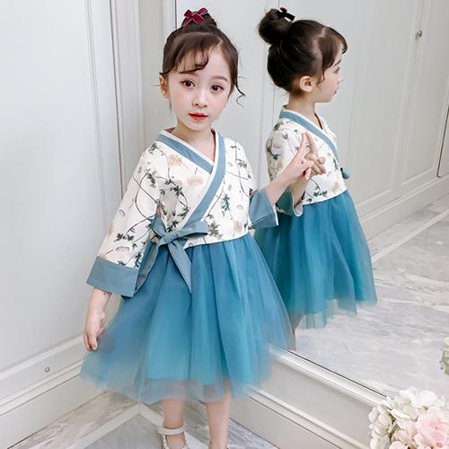 프린세스옷장 여아 어린이 초등 주니어 블루 드레스 퓨전 개량 생활 한복-24-269520919