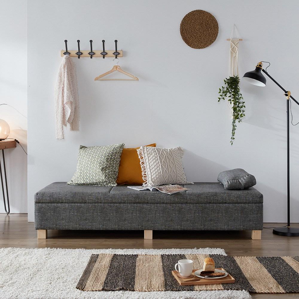 크렌시아 베개증정+소파와 침대를 한번에! 수납형 벤치 스토리지 소파베드, 딥그레이