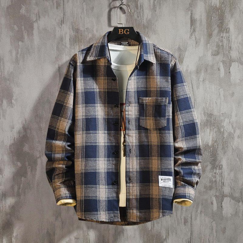봄 체크 남방 남 긴팔 더하기 오버핏 코트 트렌드 청년 셔츠