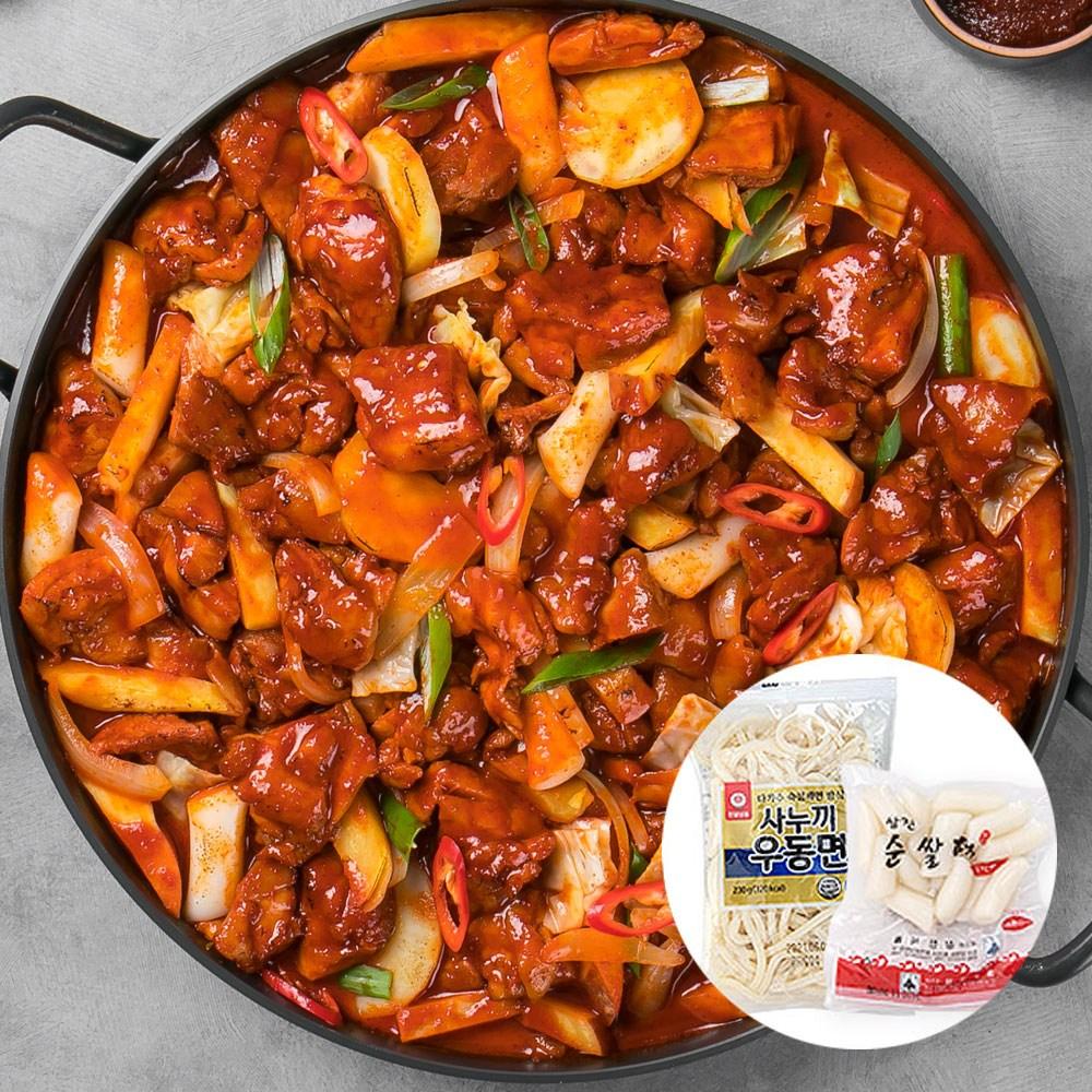 춘천 한입 신선닭갈비 1kg (2개이상 구매시 사누끼+떡 증정) 캠핑음식 캠핑, (일반맛) 한입닭갈비 1kg